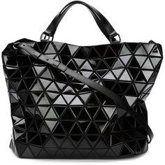 BAO BAO ISSEY MIYAKE 'Bao bao' tote (11.395 DKK) ❤ liked on Polyvore featuring bags, handbags, tote bags, black leather tote, black tote bag, genuine leather tote, genuine leather tote bag и black leather handbags