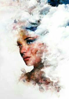 An image of a woman with a double exposure effect of clouds and ink over her fac. - An image of a woman with a double exposure effect of clouds and ink over her face and hair. L'art Du Portrait, Art Photography Portrait, Photoshop Photography, Levitation Photography, Surrealism Photography, Water Photography, Macro Photography, Photography Hashtags, Photography Jobs