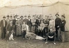 """Personnel of the old Miles Orton Circus outside a tent in their 1891-92 New Orleans' quarters."""