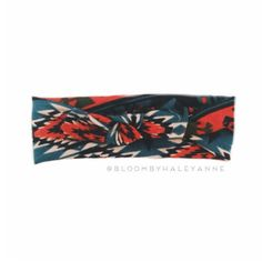 Aztec tribal head wrap peacock blue and rust by Bloombyhaleyanne