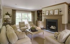 Neutral living room with great patterns and fireplace SLC INTERIORS - Interior Design - Hamilton Living Room
