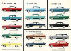 1956 Plymouth Belvedere, Savoy, Plaza and Suburban.