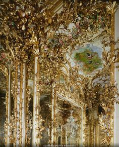 "NEO-BAROQUE INTERIORS:PALACES 19TH   Dollmann,Georg von  Gilded stucco in Herrenchiemsee palace, a residence built for Ludwig II of Bavaria, who admired France's Louis XIV and saw himself as another ""sun-king"". Construction of Herrenchiemsee palace began after Ludwig's visit to Versailles in 1867.   Palace, Herrenchiemsee, Germany"