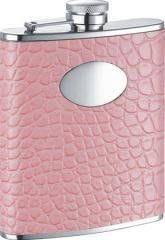 """Annabella Light Pink Synthetic Leather 6oz Liquor Flask by Annabella. $78.99. Light in color but fashionable in design, this flask has a complex style that is sure to garner attention from all every time you carry it. The synthetic leather and snake-skin pattern lures them every time with it's unique looks.   Dimensions of Flask: 4.55"""" (Height) x 3.80"""" (Width) x 0.92"""" (Thickness) Weight of Flask: 5.14 oz. 6 oz. Capacity Light Pink Leatherette Snake-Skin Design Captiv..."""