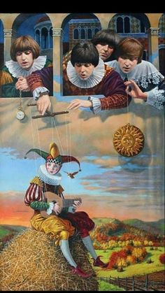 """""""Fool on the Hill"""" 2015 by Michael Cheval New York artist who creates enigmatic paintings in Surrealism. Called his style ' Absurdity'. Les Beatles, Beatles Art, Pierrot Clown, Surrealism Painting, Art Sculpture, Wow Art, Arte Pop, Clowns, Art Plastique"""