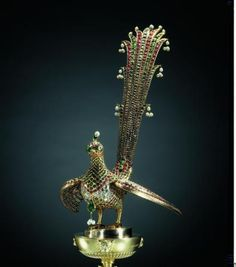 Huma bird from the canopy of Tipu Sultan's throne. Mysore c. 1787 – The Royal Collection Trust. Credit: Her Majesty Queen Elizabeth II 14k Gold Jewelry, Bird Jewelry, Quartz Jewelry, Royal Jewelry, Jewelry Stand, Antique Jewellery, Animal Jewelry, Indian Jewelry, Queen Charlotte Of England