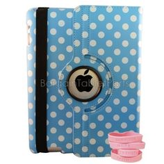 "Ipad 2 and Ipad 3 Polka Dot Rotating Case Color: Light Blue by Bargain Tablet Parts. $9.99. Polka-Lblue Color: Light Blue Features: -All of the iPad 2 and iPad 3 ports, buttons, speakers, and cameras are visible and accessible with the case on.-High quality case built specifically to fit the Apple iPad 2 and 3.-Smart cover to sleep saving you battery life. Construction: -Constructed of highest quality PU leather. Dimensions: -Dimensions: 10"" H x 7.5"" W x 0.75"" D."