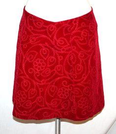 Kenzo Paris Vintage 80's Red Embroidered Velvet Wrap Skirt