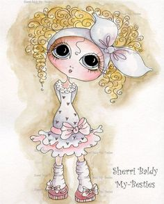 INSTANT DOWNLOAD Digital Digi Stamps Big Eye Big Head Dolls Digi  My Besties IMG146 2 By Sherri Baldy