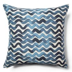 Our new Tidal Waves pillow in Sea Blues. This design began as a simple wavy mark in Rebeccas sketchbook. The subtle shifting tones come to life with the woven texture. #rebeccaatwood #howescollection