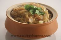 Mashed brinjal sautéed in Bihari style.