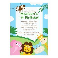 Cute Safari 1st Birthday Card