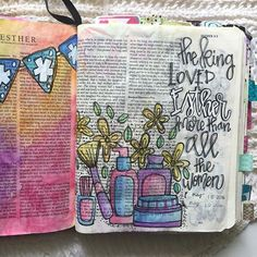 Bible Journaling by Trudy Barker Youth Bible Study, Bible Study Journal, Art Journaling, Scripture Art, Bible Art, Bible Prayers, Bible Scriptures, Esther Bible, Susa