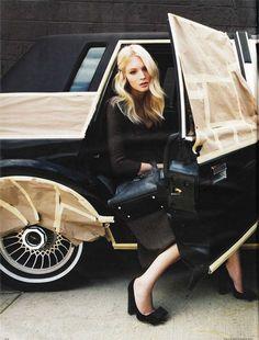 little black dress and amazing car!