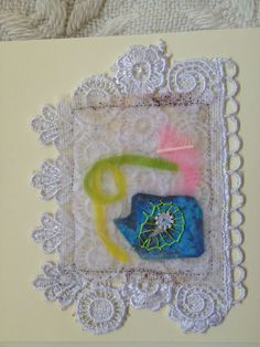 waxed and embroidered tea bag