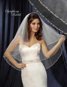 Beaded Two Tier Wedding Veil by Symphony Bridal 6214VL - just enough bling!