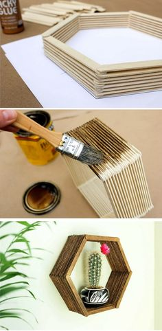 Build a hexagon wall shelf from popsicle sticks.