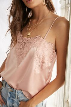 Product Name:Satin Lace-Trim Cami, Category:top_blouses, Cute Summer Outfits, Trendy Outfits, Cute Outfits, Fashion Outfits, Crop Top Shirts, Lace Crop Tops, Corset Rouge, Tank Top Outfits, Lehenga