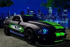 Badass!!! Two of my favorites.... Mustangs and Seahawks! What more could a girl need?