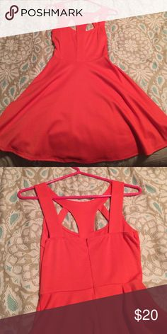VON MAUR cutout dress Coral cutout dress from Von Maur...super cute, comfy stretch material and flattering fit! Only worn once. Lush Dresses Mini