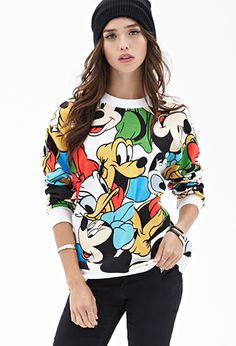 Disney Mickey Mouse Club Sweatshirt   FOREVER21. This is very 90s. And the outfit is grunge-y too. I love it!!