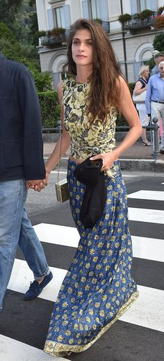 WHO: Elisa Sednaoui Dellal WHAT: Alberta Ferretti WHEN: July 31, 2015 WHERE: Borromeo/Casiraghi Wedding in  Stresa, Italy