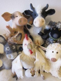 needle felted farm animals