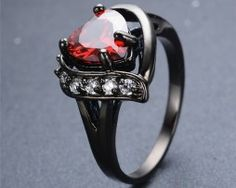 Heart Black Gothic Ring - Let's Be Gothic, nightwear, clothing, punk, dark Gothic Wedding Rings, Gothic Engagement Ring, Gold Wedding, Heart Jewelry, Heart Ring, Gold Heart, Jewelry Rings, Diamond Heart, Jewlery
