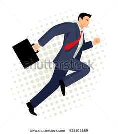 Cartoon illustration of a businessman running with briefcase, business, energetic, dynamic concept - stock vector