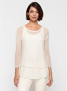 Eileen Fisher Scoop Neck Top in Handknit Mohair Mesh $258