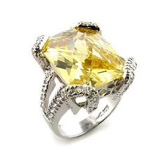 Silver Ring with Radiant Citron Yellow CZ - Exclusive DT Jeweler, VORI07-04247