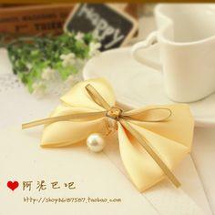 Bow ribbons, appliques and pearls - Moño cintas, apliques y perlas