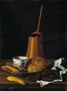 Luis Egidio Meléndez (Naples, 1716-Madrid, 1780), Chocolatière, brioche, tasse et biscuits, 1770. Huile sur toile, 50 x 37 cm, Madrid, Musée du Prado.