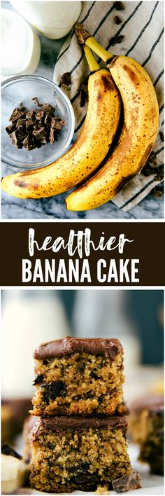 Flourless Healthier Banana Chocolate-Chip Cake - A healthier banana cake made in ONE bowl and covered in a dark chocolate frosting. The perfect way to use up those over ripe bananas!