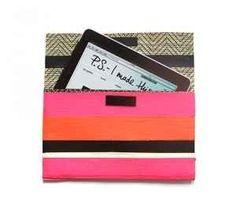 A striped tablet case can double as a colorful clutch.