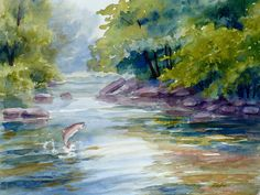 Trout Stream Painting by Janet  Zeh