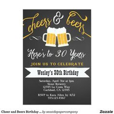 Shop Surprise Cheers & Beers Birthday Party Invitation created by seasidepapercompany. Personalize it with photos & text or purchase as is! 30th Birthday For Him, Beer Birthday Party, Surprise 30th Birthday, 50th Birthday Party Invitations, 30th Party, 30th Birthday Parties, Birthday Cheers, Birthday Gifts, Disney Birthday