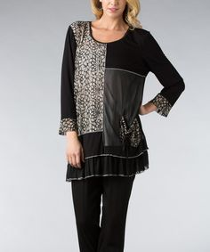 Another great find on #zulily! Black & Off-White Floral Ruffle Tunic by Dalin #zulilyfinds