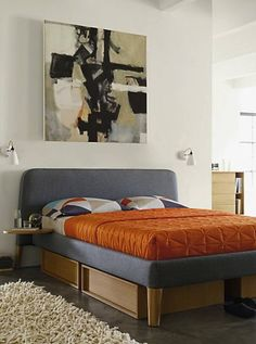 Parallel Queen Bed & Under-Super cool, muted tone bedroom with orange colour splash in the form of a bed spread! Bed Storage : Beds & headboards by Design Within Reach Mexico