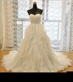 Custom color Ball Gown Wedding Dresses 2015 New Fashion Lace Up Bridal Gowns Ruffle Plus Size