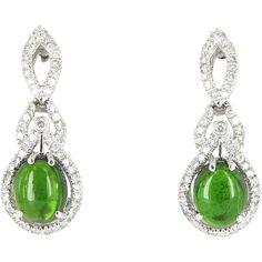 30% Off Ruby Lane Red Tag Sale - Vintage Green Tourmaline Diamond Earrings 14 Karat White Gold Estate Jewelry