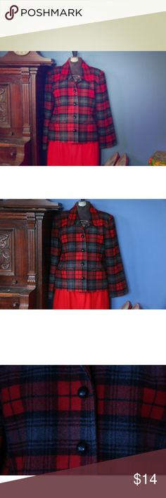 "Button down red plaid wool jacket This Bedford Fair jacket is a classic wool plaid jacket. It is lined. Although I cannot be sure this item is 100% wool as the tag is removed, I am fairly certain based on the feel that it is mostly wool, or all wool. A very warm classic blazer. This item is in great condition, with minimal pilling and no stains. It has been gently laundered. Measurements: 36"" bust 23"" long bedford fair Jackets & Coats"