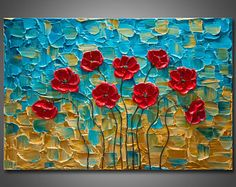 "Large 24""x36""x1.5"" - Original Impasto Texture Painting on Gallery Wrapped Canvas - Abstract - Red Poppies - Ready to Hang - FREE SHIPPING!"