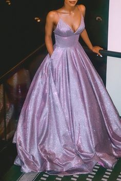 Charming Spaghetti Straps Prom Dresses,Shining A-line Evening Dresses With Pockets,Brush Train Prom - Bal de Promo Prom Dress With Train, Prom Dresses With Pockets, Straps Prom Dresses, Pretty Prom Dresses, Hoco Dresses, Dance Dresses, Elegant Dresses, Formal Dresses, Sexy Dresses