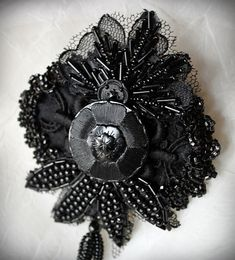 CHASTITY Beaded Victorian Inspired Mourning by carlafoxdesign Brooches Handmade, Handmade Gifts, Button Crafts, Vintage Buttons, Craft Fairs, Fabric Flowers, Beaded Jewelry, Applique, Fashion Accessories