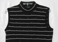 ST. JOHN Sleeveless Mock Turtleneck Top Sweater Women Sz S Small Black & White #Style #Fashion #Deal
