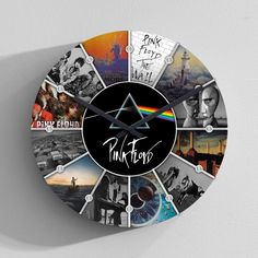 Style: PF Collage Wall Clock Movement Continuous Sweep Clock Movements Frame ABS Plastic Dial PVC Surface High-density Glass Hand Aluminum Diameter 14 in Battery Type AA Battery Usage Home Decor / Interior Design Vinyl Record Art, Vinyl Art, Vinyl Records, Record Clock, Pink Floyd Album Covers, Pink Floyd Albums, Arte Pink Floyd, Pink Floyd Poster, Iron Maiden