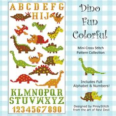 Oh what fun! Colorful Dinosaurs to customize to your heart's desire. Includes full set of alphabet and numbers.