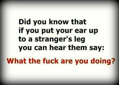 Sorry but I seriously just laughed out LOUD! Did you know that when you put your ear up to a strangers leg.