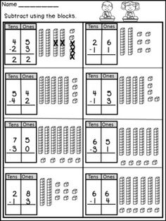 Double Digit and Three Digit Addition and Subtraction with Regrouping Worksheets! These worksheets will help your students learn and practice addition and subtraction with regrouping in a meaningful way! Subtraction With Regrouping Worksheets, Math Worksheets, Math Resources, Math Activities, Subtracting With Regrouping, Teaching Subtraction, Addition Worksheets, Second Grade Math, First Grade Math